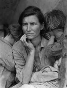 """""""Migrant Mother""""  Florence Owens Thompson with her three children during the Great Depression, 1935. (Photo credit: Dorthea Lange)"""
